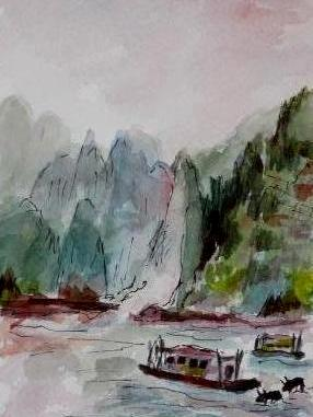 Yangtze River, China  (Mini Painting)
