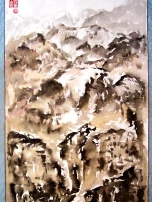 """Mountains in Clouds (63""""X27"""")-SOLD"""