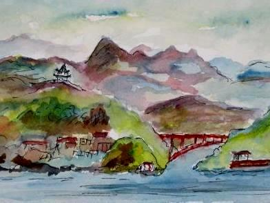 Three Gorges, China     (Mini Painting)