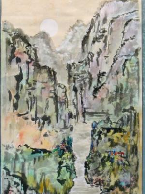 """Colorful Mountain Travels(63""""X27"""")-SOLD"""